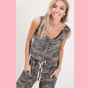 7th Ray Pants & Jumpsuits - Camo Button Up Jumpsuit